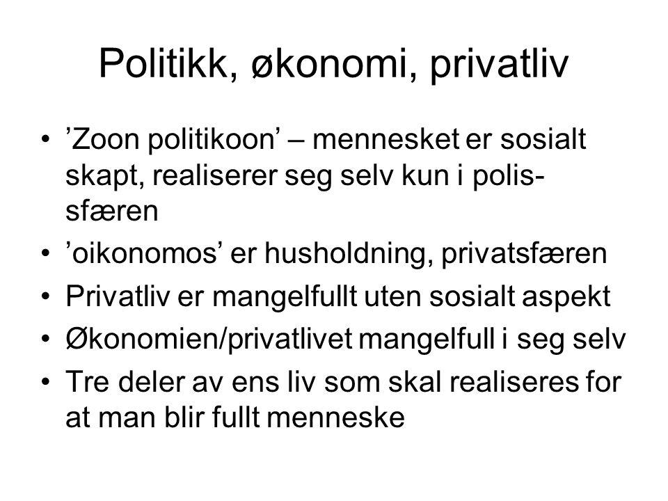 Politikk, økonomi, privatliv