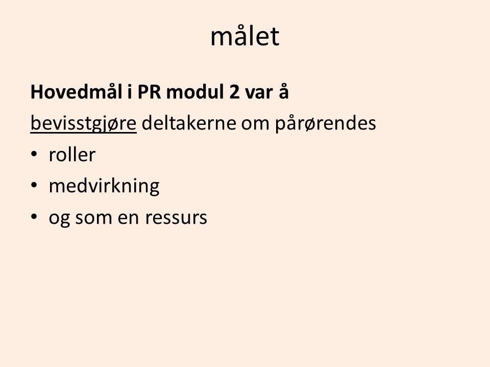 målet Hovedmål i PR modul 2 var å