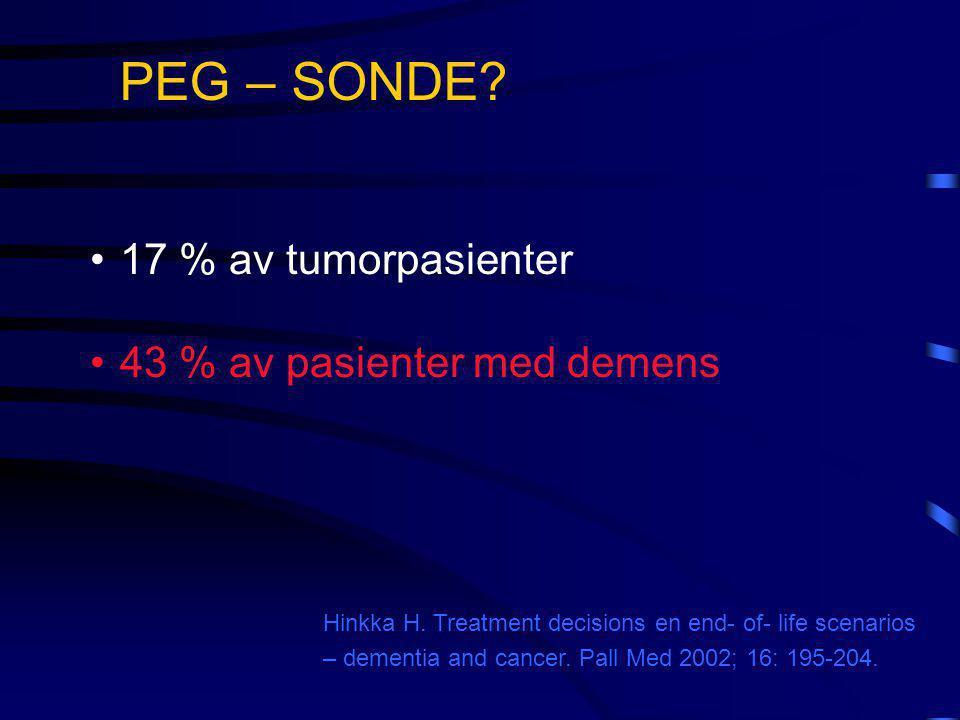PEG – SONDE 17 % av tumorpasienter 43 % av pasienter med demens