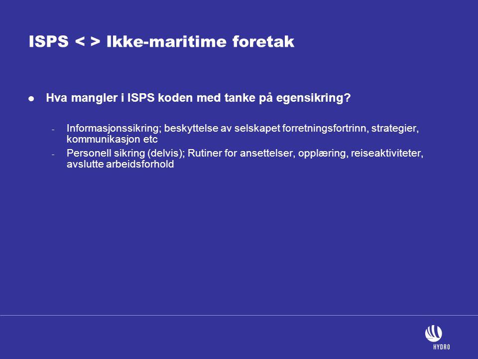 ISPS < > Ikke-maritime foretak