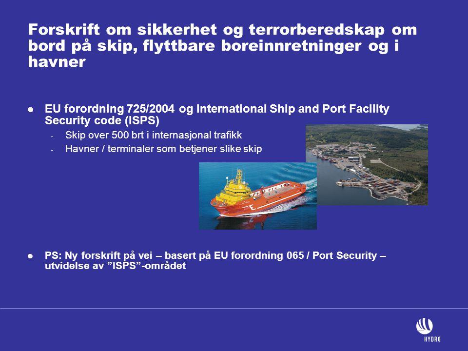 Forskrift om sikkerhet og terrorberedskap om bord på skip, flyttbare boreinnretninger og i havner