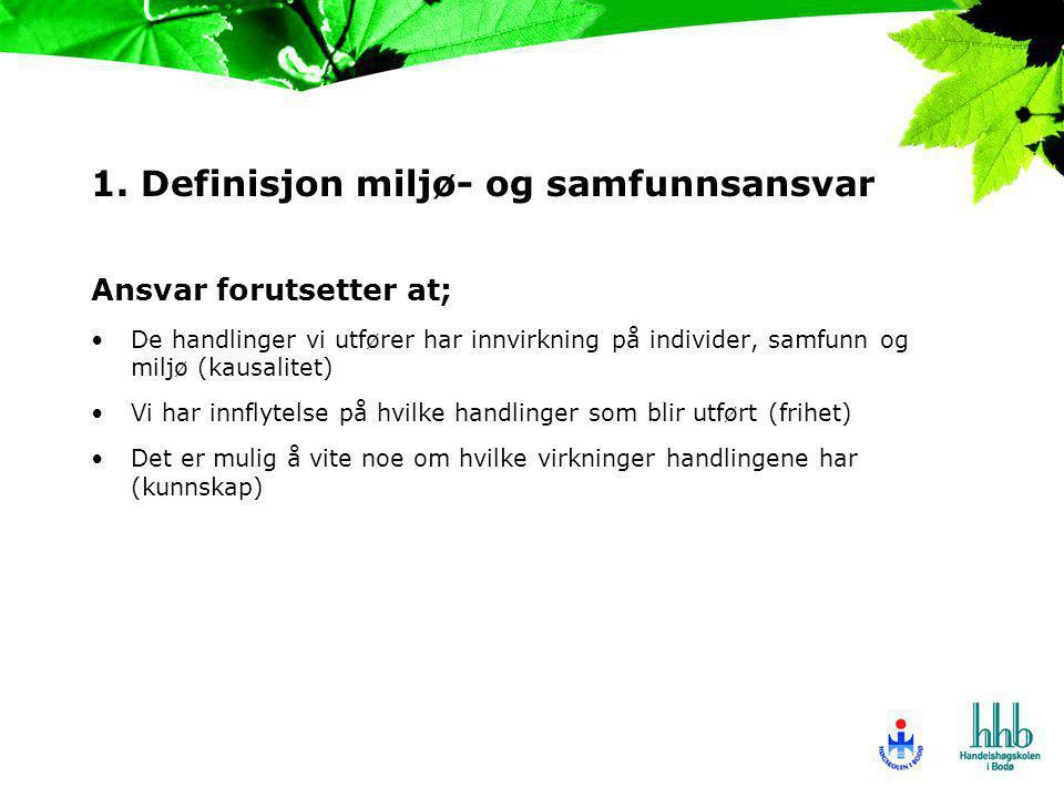 1. Definisjon miljø- og samfunnsansvar