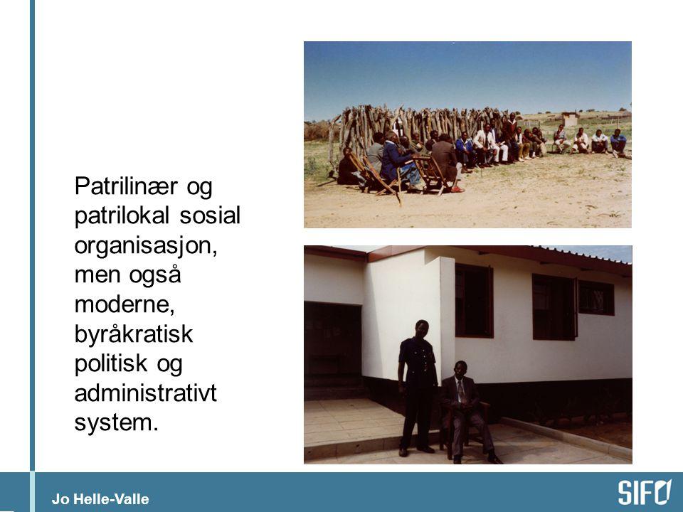 Patrilinær og patrilokal sosial organisasjon, men også moderne, byråkratisk politisk og administrativt system.