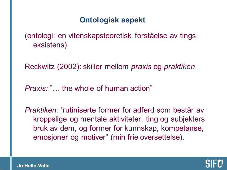 Ontologisk aspekt (ontologi: en vitenskapsteoretisk forståelse av tings eksistens) Reckwitz (2002): skiller mellom praxis og praktiken.