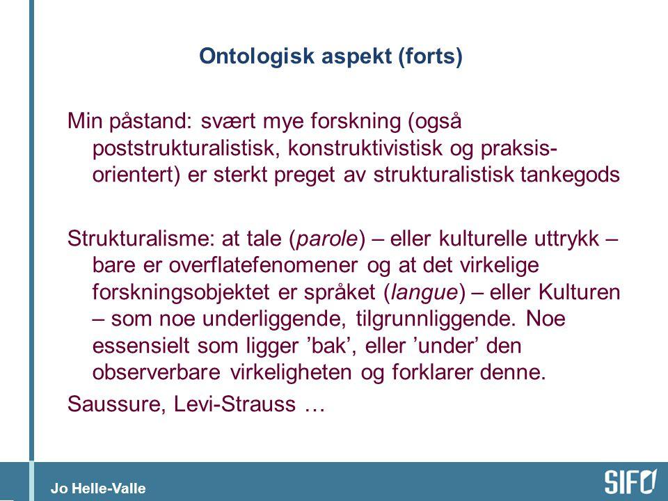Ontologisk aspekt (forts)