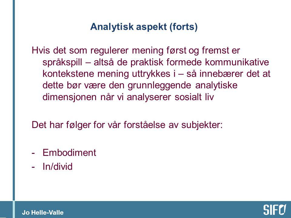 Analytisk aspekt (forts)