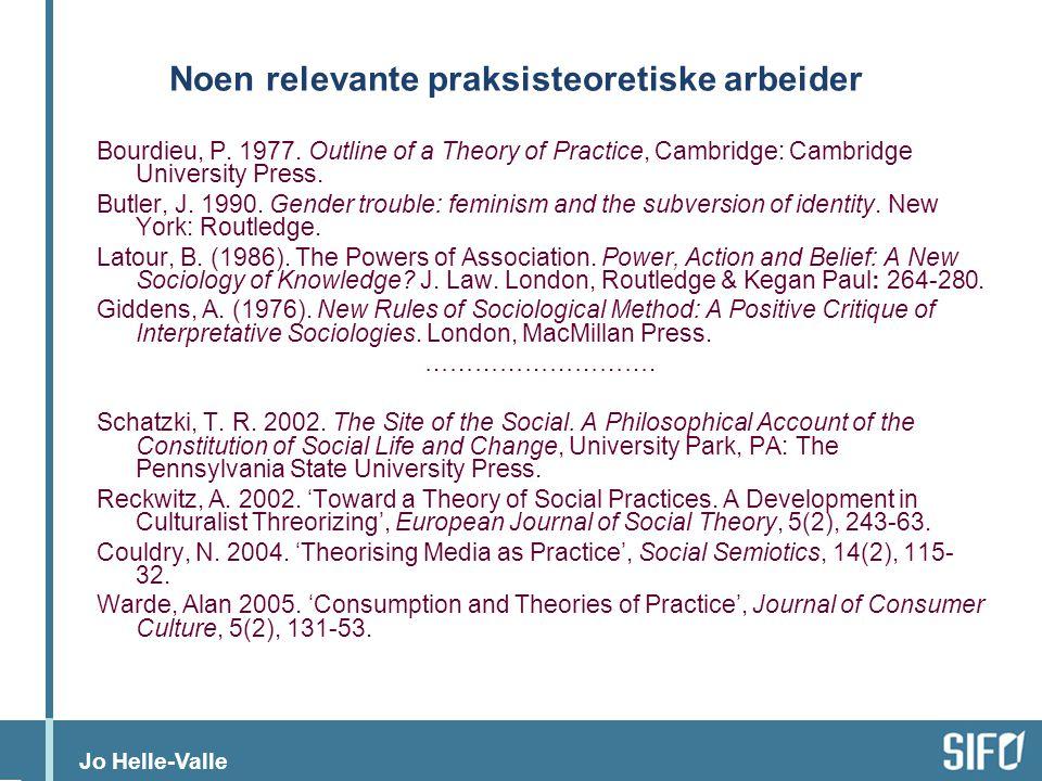 Noen relevante praksisteoretiske arbeider