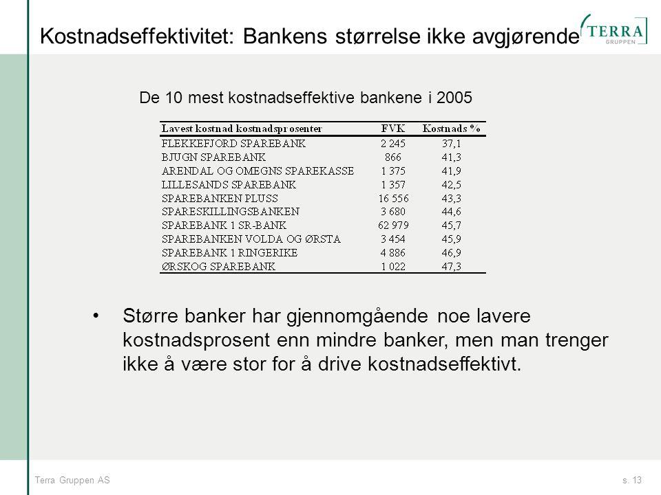 Kostnadseffektivitet: Bankens størrelse ikke avgjørende