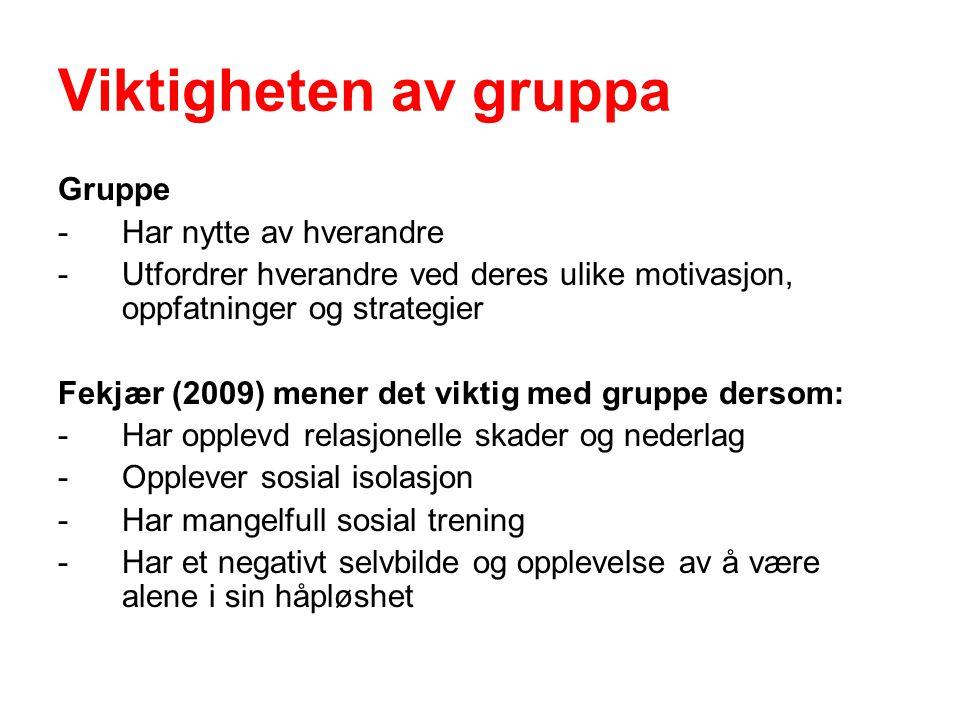 Viktigheten av gruppa Gruppe - Har nytte av hverandre