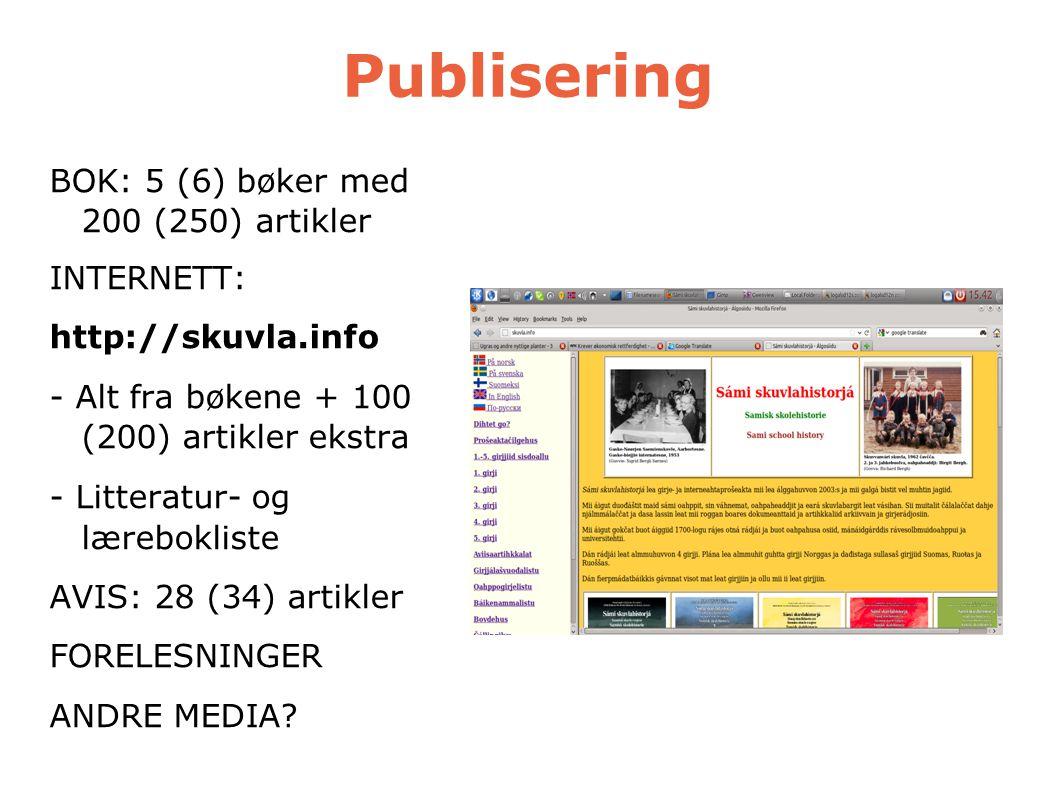 Publisering BOK: 5 (6) bøker med 200 (250) artikler INTERNETT: