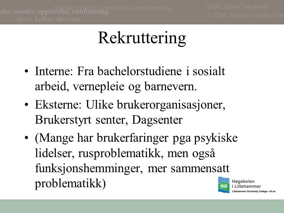 Rekruttering Interne: Fra bachelorstudiene i sosialt arbeid, vernepleie og barnevern.