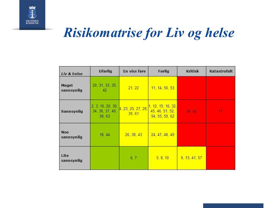 Risikomatrise for Liv og helse