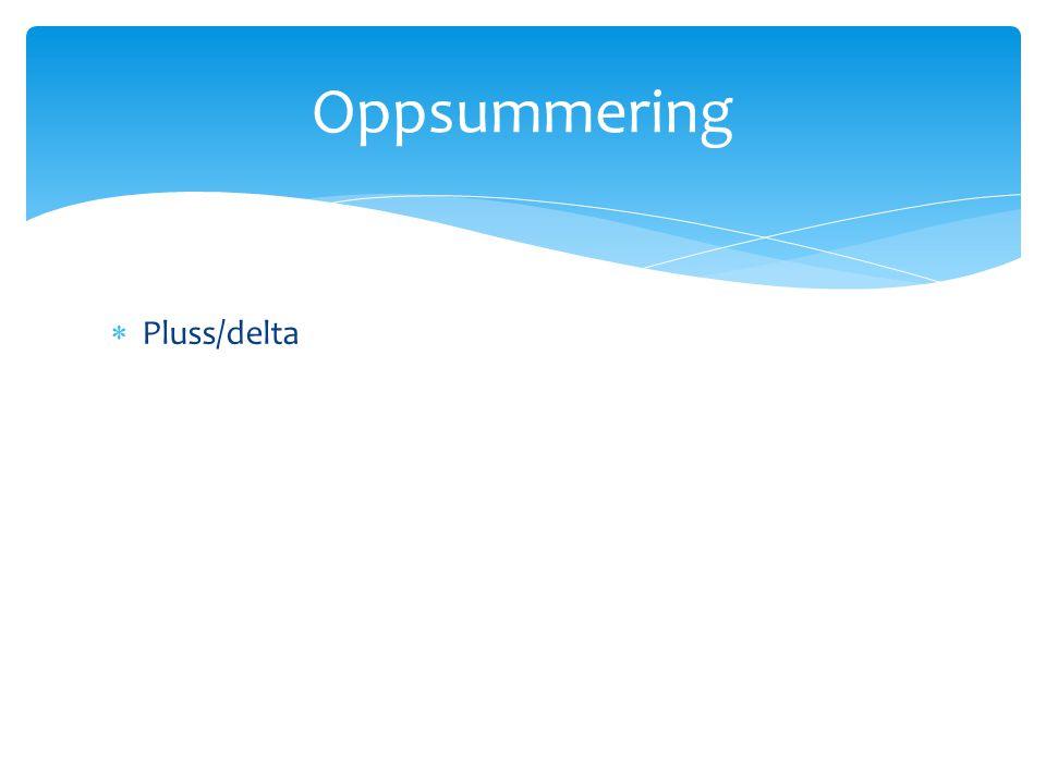 Oppsummering Pluss/delta