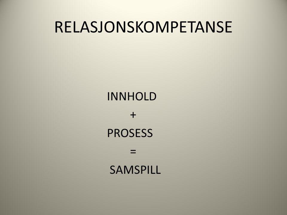 RELASJONSKOMPETANSE INNHOLD + PROSESS = SAMSPILL