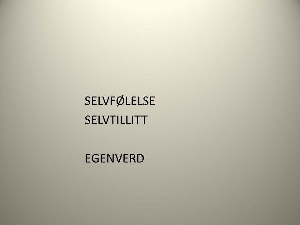 SELVFØLELSE SELVTILLITT EGENVERD
