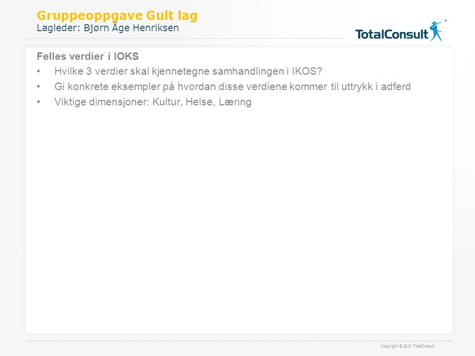 Gruppeoppgave Gult lag Lagleder: Bjørn Åge Henriksen