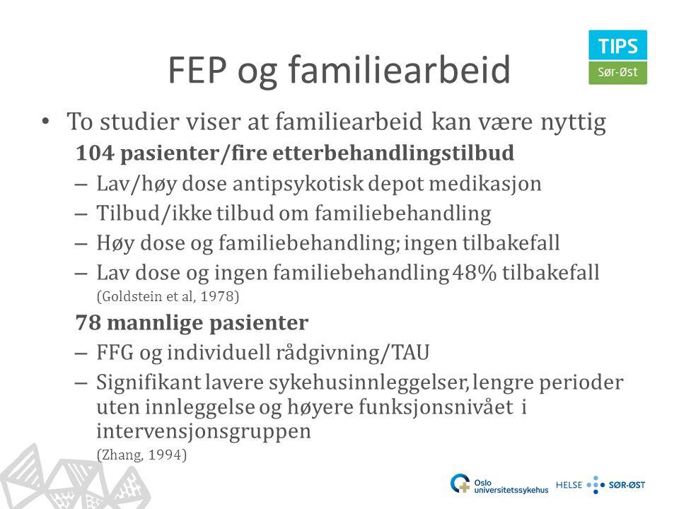 FEP og familiearbeid To studier viser at familiearbeid kan være nyttig