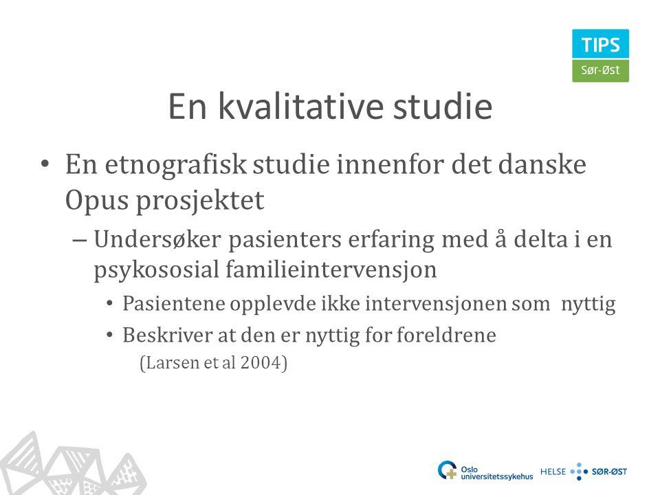 En kvalitative studie En etnografisk studie innenfor det danske Opus prosjektet.