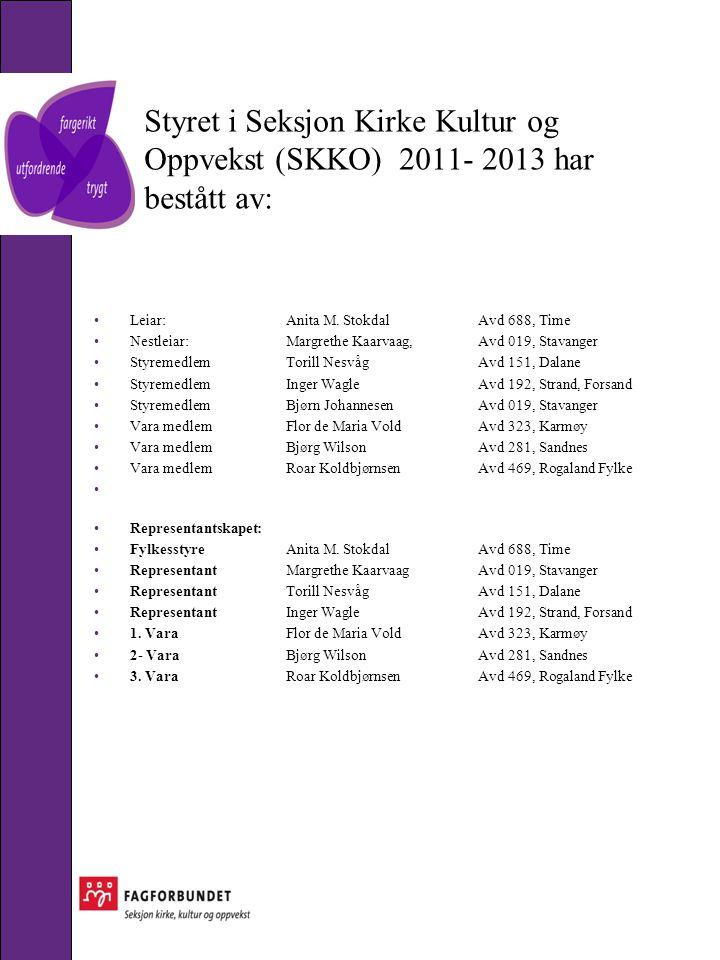 Styret i Seksjon Kirke Kultur og Oppvekst (SKKO) 2011- 2013 har bestått av: