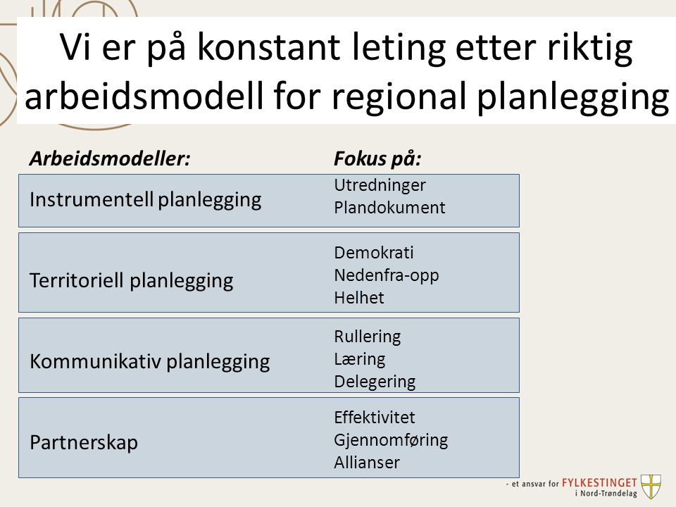 Vi er på konstant leting etter riktig arbeidsmodell for regional planlegging