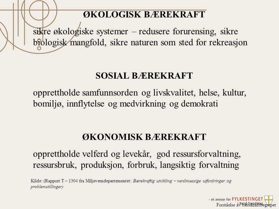 ØKOLOGISK BÆREKRAFT SOSIAL BÆREKRAFT ØKONOMISK BÆREKRAFT