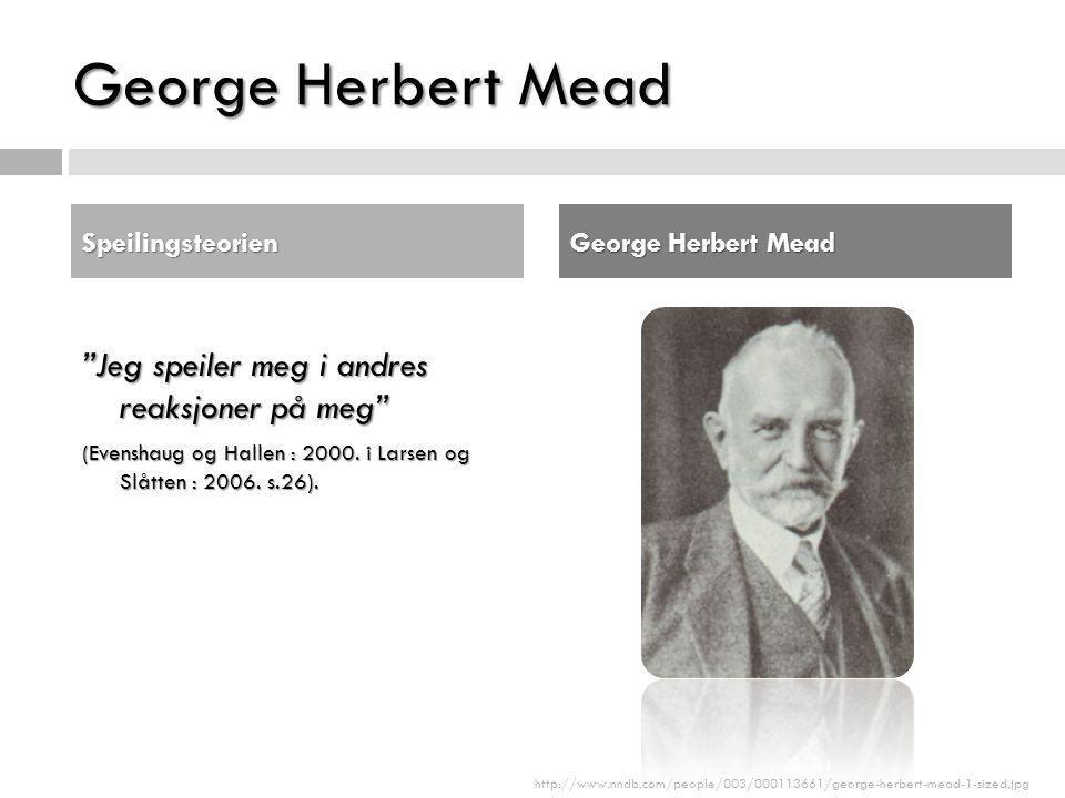 George Herbert Mead Jeg speiler meg i andres reaksjoner på meg