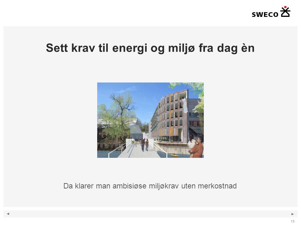 Sett krav til energi og miljø fra dag èn