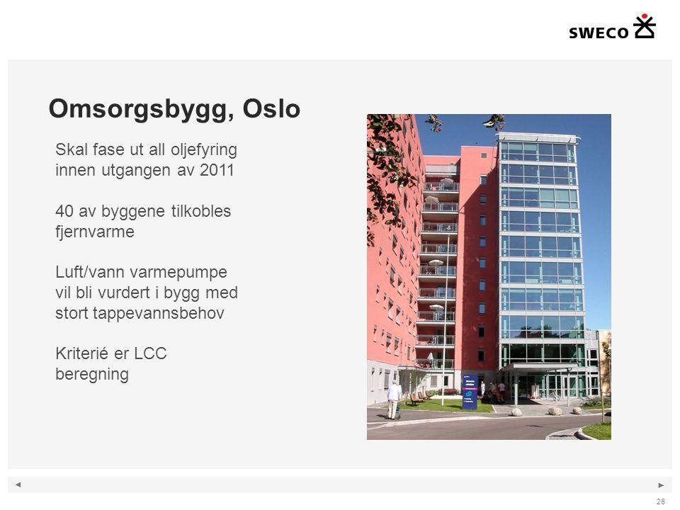 Omsorgsbygg, Oslo Skal fase ut all oljefyring innen utgangen av 2011
