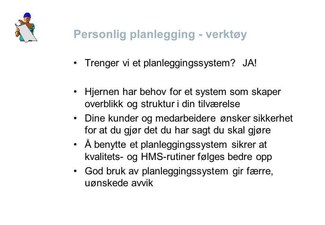 Personlig planlegging - verktøy