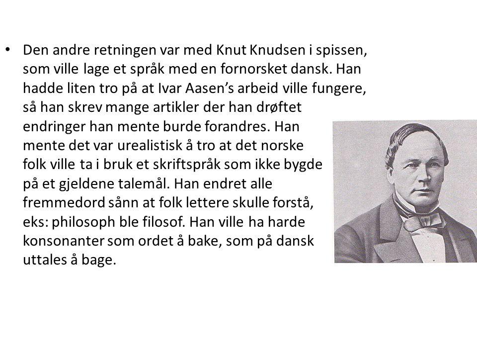 Den andre retningen var med Knut Knudsen i spissen, som ville lage et språk med en fornorsket dansk.