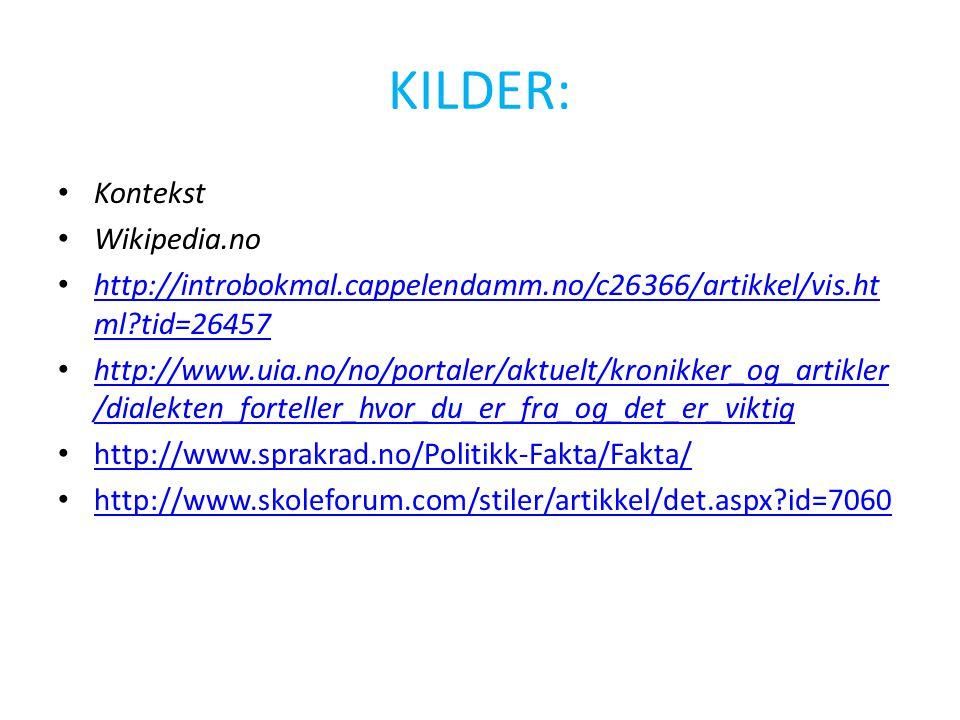 KILDER: Kontekst Wikipedia.no