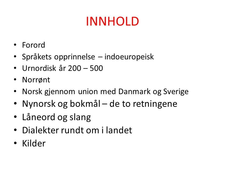 INNHOLD Nynorsk og bokmål – de to retningene Låneord og slang