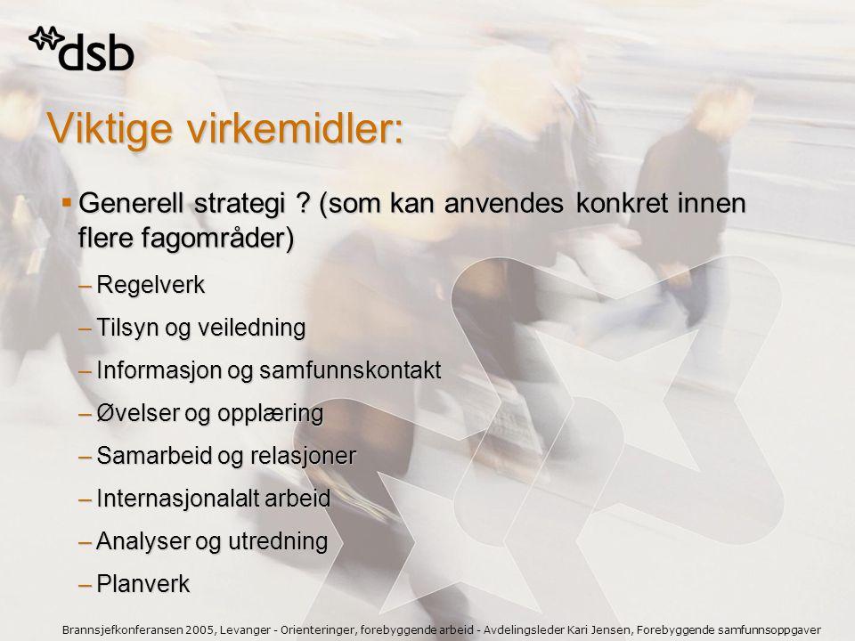 Viktige virkemidler: Generell strategi (som kan anvendes konkret innen flere fagområder) Regelverk.