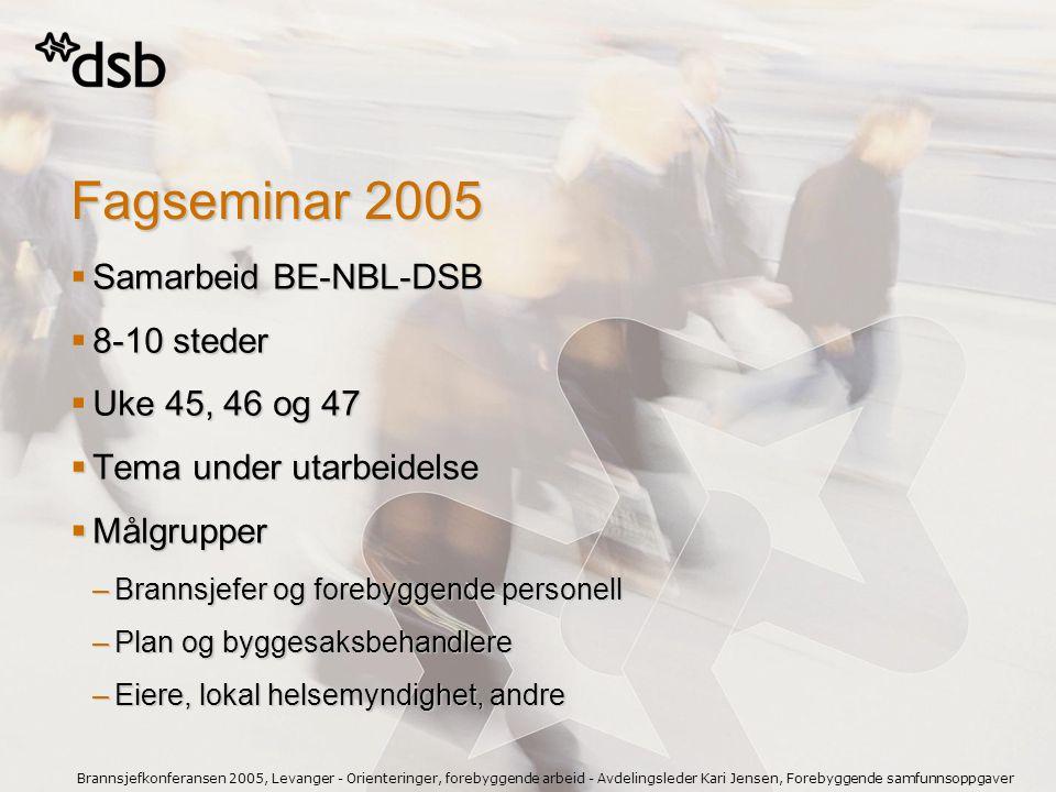 Fagseminar 2005 Samarbeid BE-NBL-DSB 8-10 steder Uke 45, 46 og 47