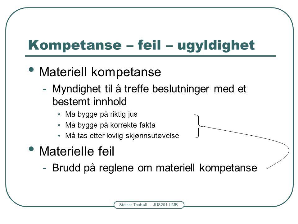 Kompetanse – feil – ugyldighet