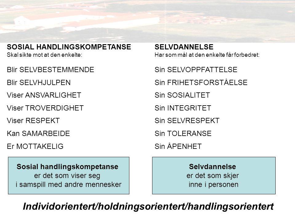 Individorientert/holdningsorientert/handlingsorientert