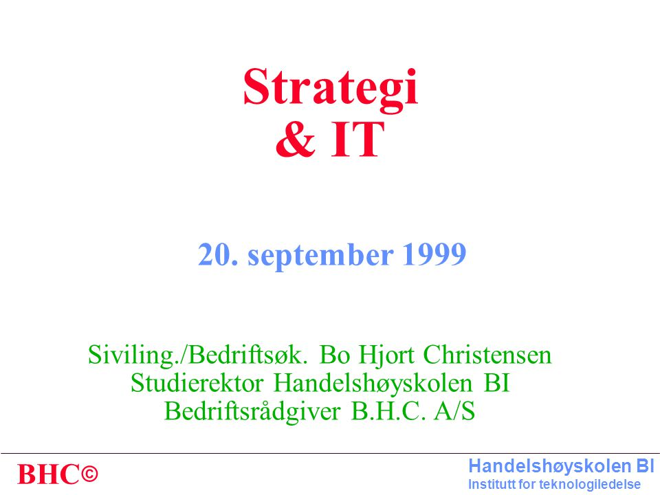 Strategi & IT 20. september 1999