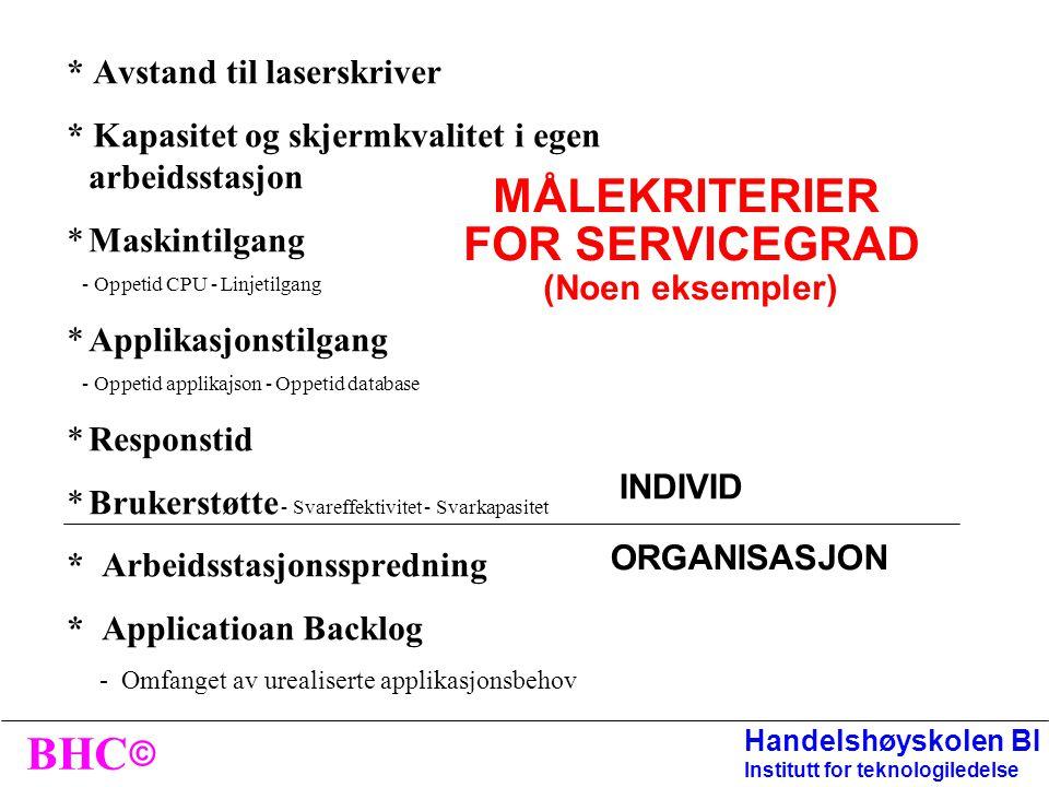 MÅLEKRITERIER FOR SERVICEGRAD (Noen eksempler)
