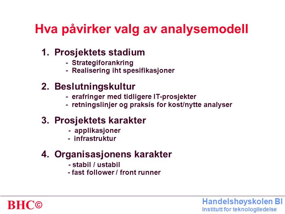 Hva påvirker valg av analysemodell