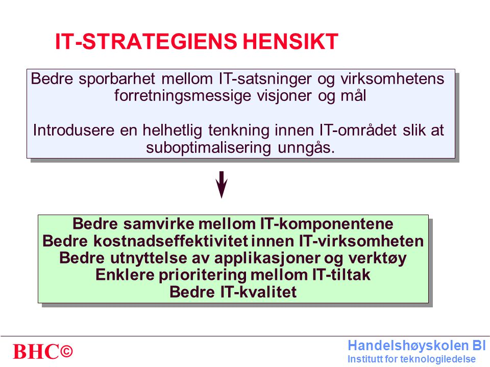 IT-STRATEGIENS HENSIKT