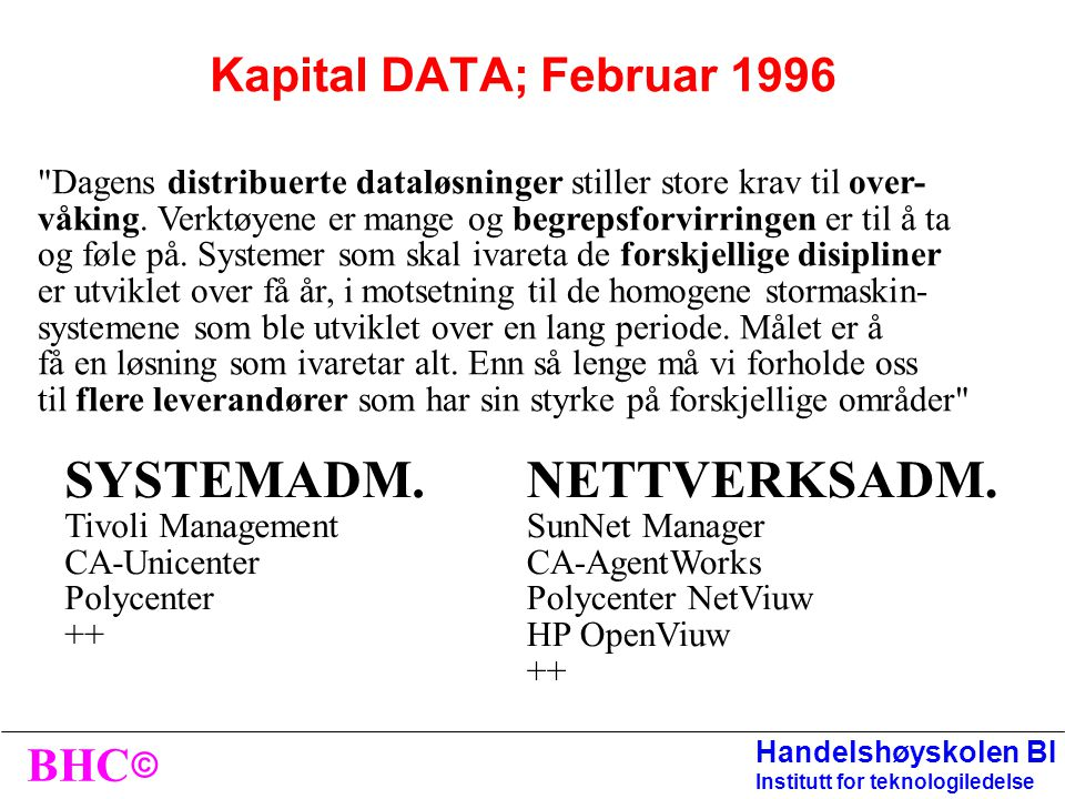 SYSTEMADM. NETTVERKSADM. Kapital DATA; Februar 1996
