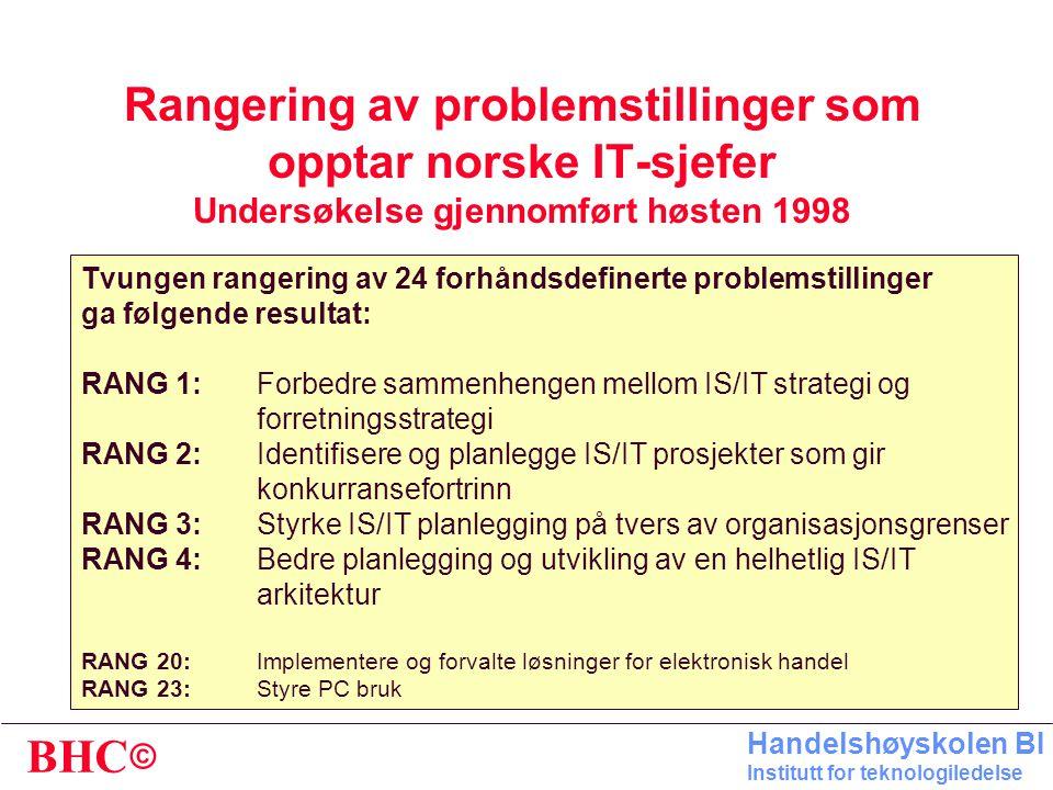 Rangering av problemstillinger som opptar norske IT-sjefer Undersøkelse gjennomført høsten 1998