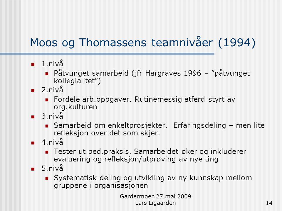Moos og Thomassens teamnivåer (1994)