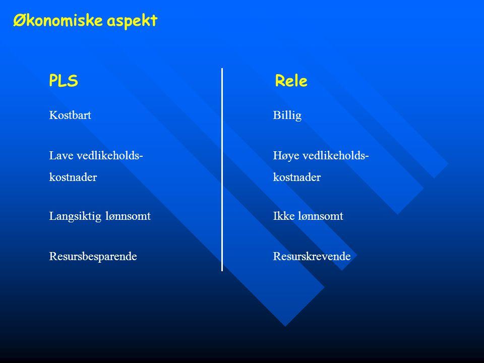 Økonomiske aspekt PLS Rele Kostbart Billig