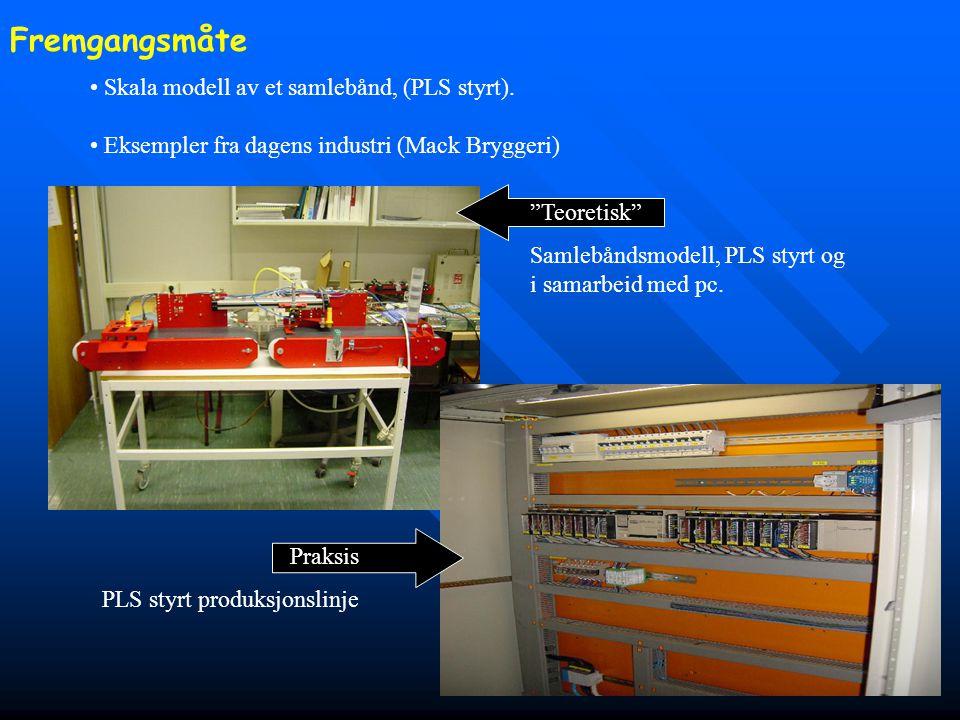 Fremgangsmåte Skala modell av et samlebånd, (PLS styrt).