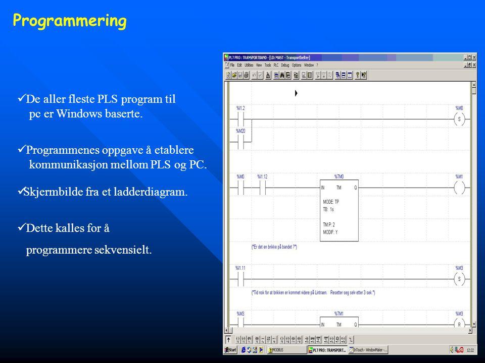 Programmering De aller fleste PLS program til pc er Windows baserte.