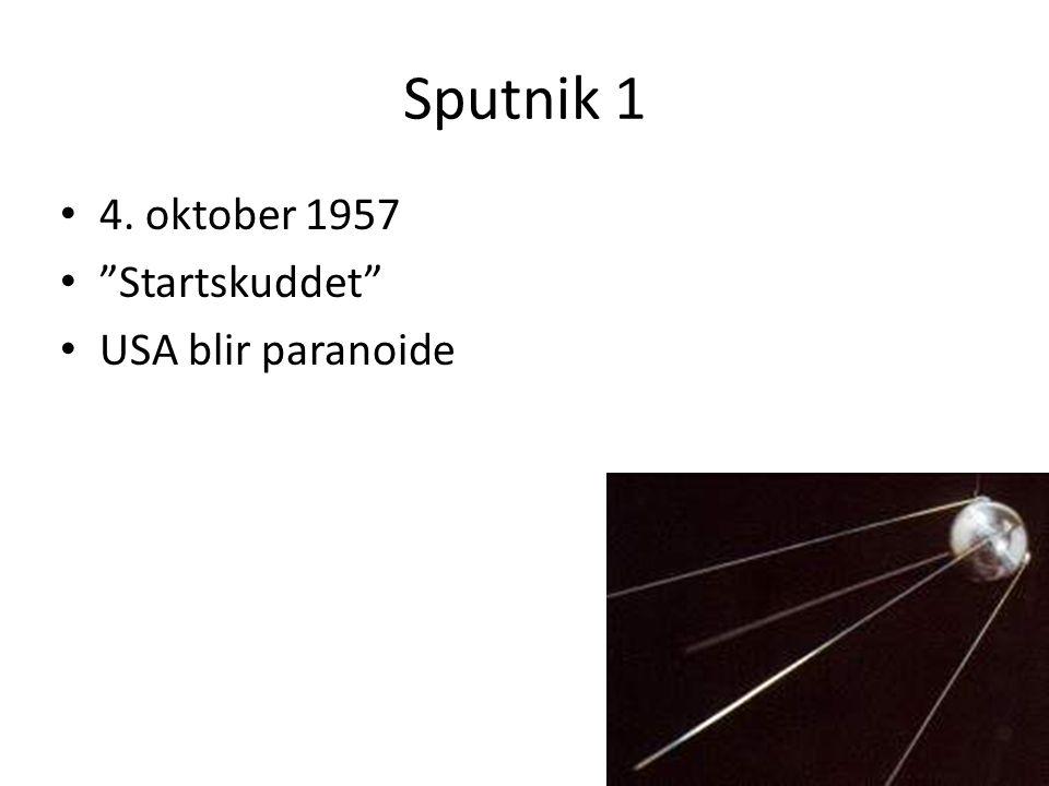 Sputnik 1 4. oktober 1957 Startskuddet USA blir paranoide