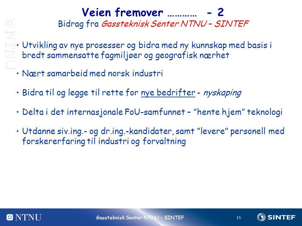 Veien fremover ………… - 2 Bidrag fra Gassteknisk Senter NTNU – SINTEF