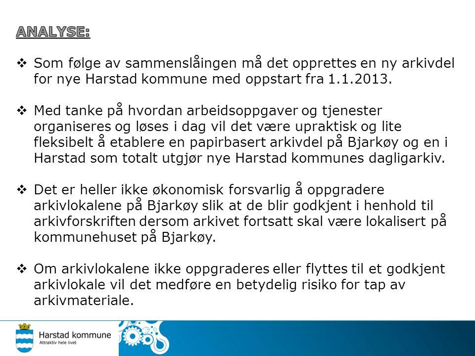 ANALYSE: Som følge av sammenslåingen må det opprettes en ny arkivdel for nye Harstad kommune med oppstart fra 1.1.2013.