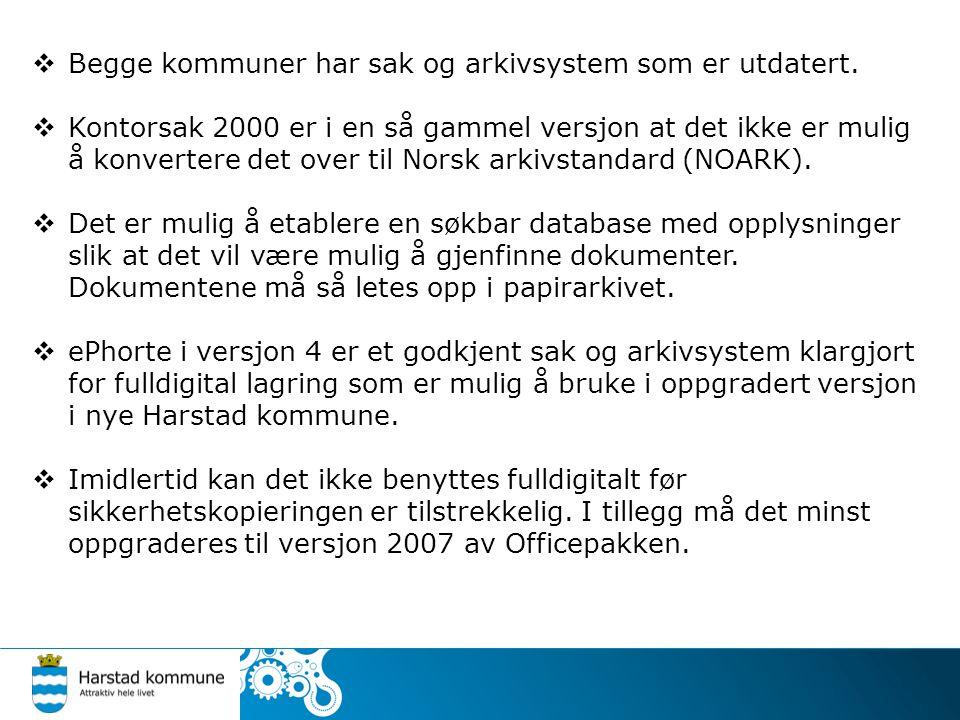 Begge kommuner har sak og arkivsystem som er utdatert.